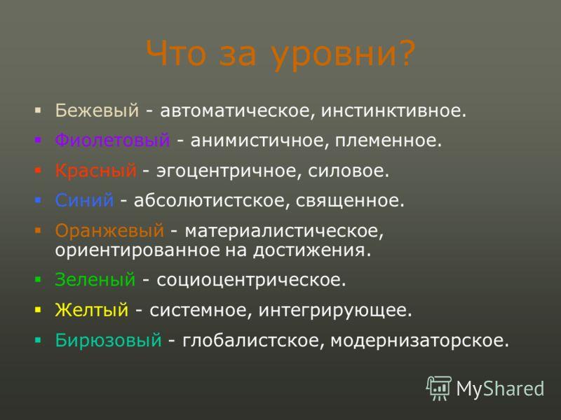 Что за уровни? Бежевый - автоматическое, инстинктивное. Фиолетовый - анимистичное, племенное. Красный - эгоцентричное, силовое. Синий - абсолютистское, священное. Оранжевый - материалистическое, ориентированное на достижения. Зеленый - социоцентричес