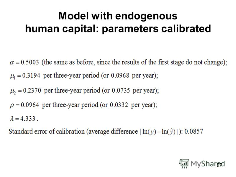 57 Model with endogenous human capital: parameters calibrated
