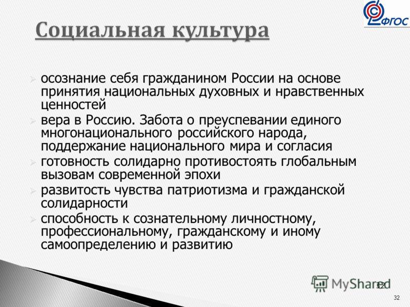 32 Социальная культура Социальная культура осознание себя гражданином России на основе принятия национальных духовных и нравственных ценностей вера в Россию. Забота о преуспевании единого многонационального российского народа, поддержание национально