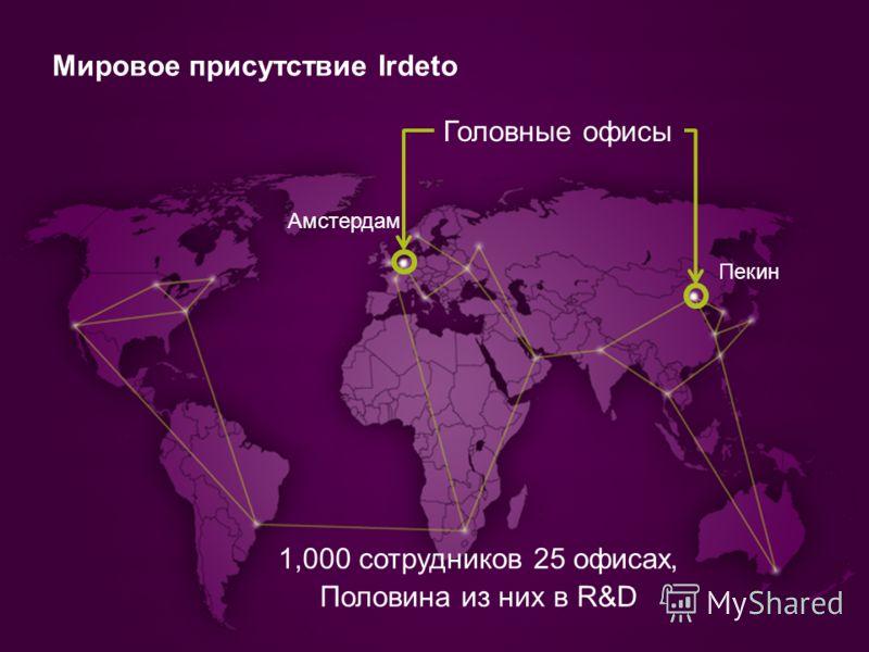 Мировое присутствие Irdeto Головные офисы 1,000 сотрудников 25 офисах, Половина из них в R&D Амстердам Пекин