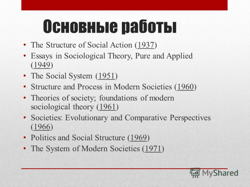Основные работы The Structure of Social Action (1937) Essays in Sociological Theory, Pure and Applied (1949) The Social System (1951) Structure and Process in Modern Societies (1960) Theories of society; foundations of modern sociological theory (196