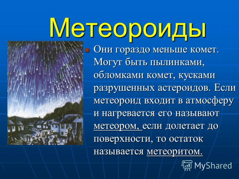Метеороиды Они гораздо меньше комет. Могут быть пылинками, обломками комет, кусками разрушенных астероидов. Если метеороид входит в атмосферу и нагревается его называют метеором, если долетает до поверхности, то остаток называется метеоритом. Они гор