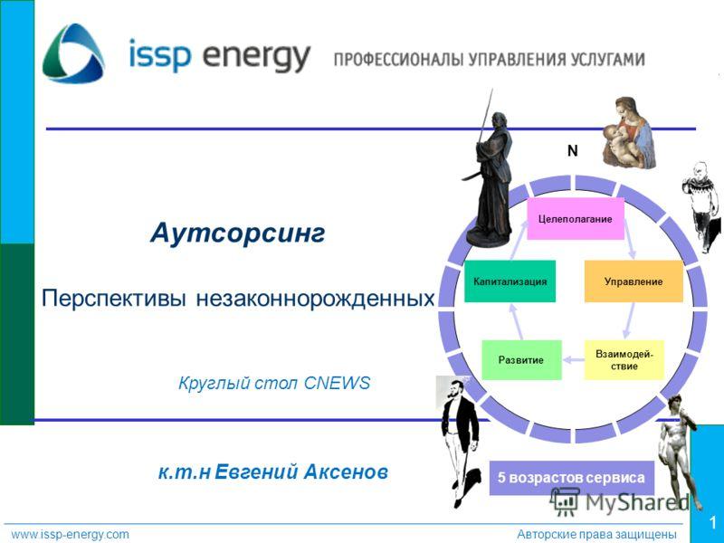 1 www.issp-energy.comАвторские права защищены Круглый стол CNEWS к.т.н Евгений Аксенов Аутсорсинг Перспективы незаконнорожденных Капитализация Целеполагание Управление Развитие Взаимодей- ствие N 5 возрастов сервиса