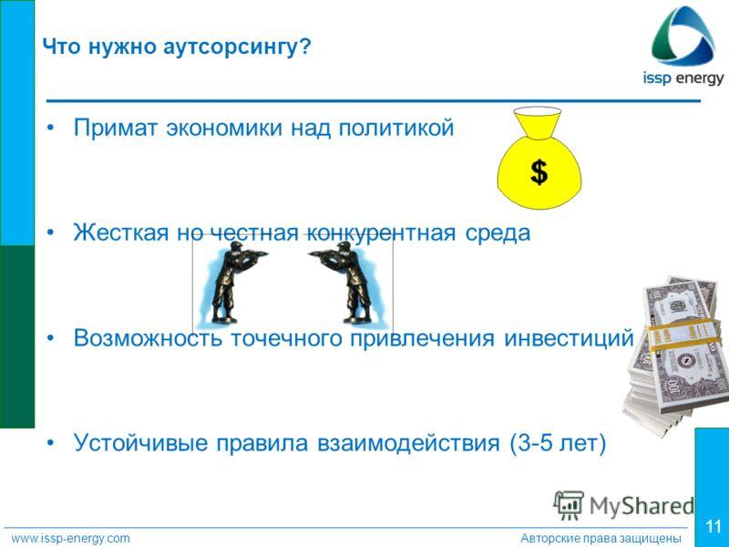 11 www.issp-energy.comАвторские права защищены Что нужно аутсорсингу? Примат экономики над политикой Жесткая но честная конкурентная среда Возможность точечного привлечения инвестиций Устойчивые правила взаимодействия (3-5 лет)