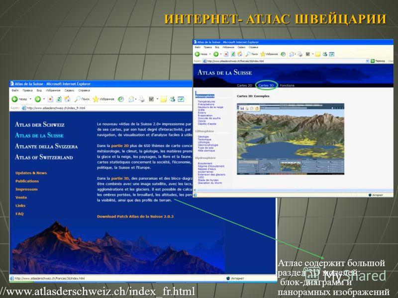 ИНТЕРНЕТ- АТЛАС ШВЕЙЦАРИИ Атлас содержит большой раздел 3D моделей: блок-диаграмм и панорамных изображений блок-диаграмм и панорамных изображений http://www.atlasderschweiz.ch/index_fr.html
