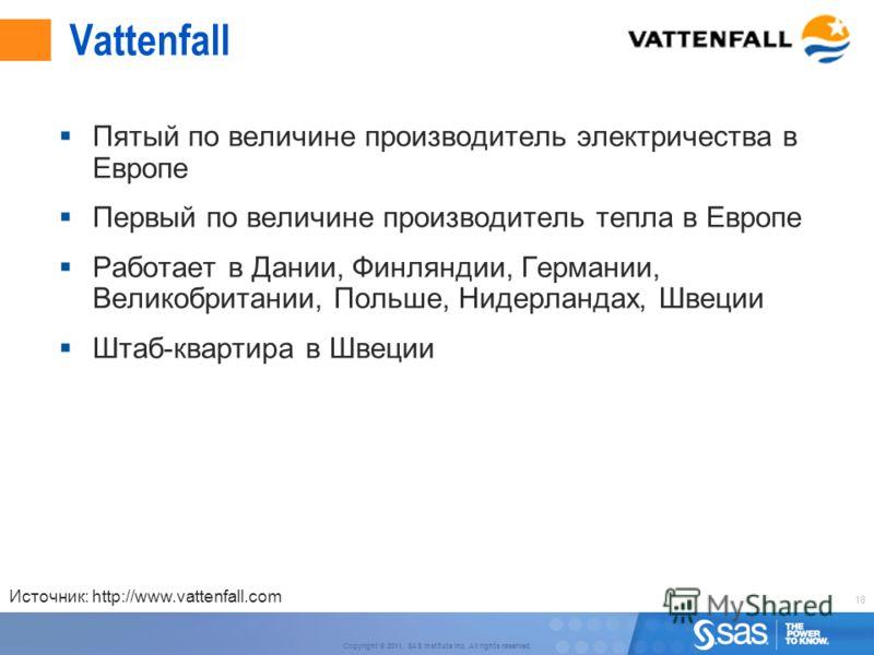 18 Copyright © 2011, SAS Institute Inc. All rights reserved. Vattenfall Пятый по величине производитель электричества в Европе Первый по величине производитель тепла в Европе Работает в Дании, Финляндии, Германии, Великобритании, Польше, Нидерландах,