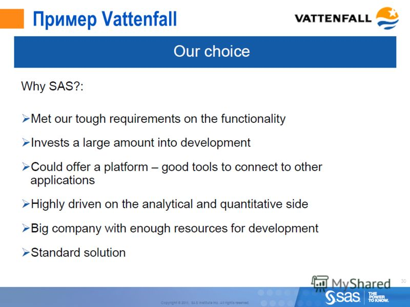 30 Copyright © 2011, SAS Institute Inc. All rights reserved. Пример Vattenfall