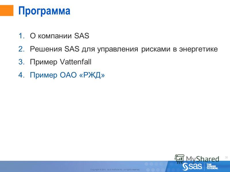36 Copyright © 2011, SAS Institute Inc. All rights reserved. Программа 1.О компании SAS 2.Решения SAS для управления рисками в энергетике 3.Пример Vattenfall 4.Пример ОАО «РЖД»