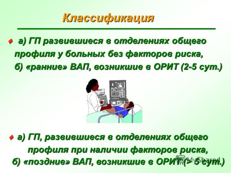 12 Классификация а) ГП развившиеся в отделениях общего а) ГП развившиеся в отделениях общего профиля у больных без факторов риска, профиля у больных без факторов риска, б) «ранние» ВАП, возникшие в ОРИТ (2-5 сут.) б) «ранние» ВАП, возникшие в ОРИТ (2