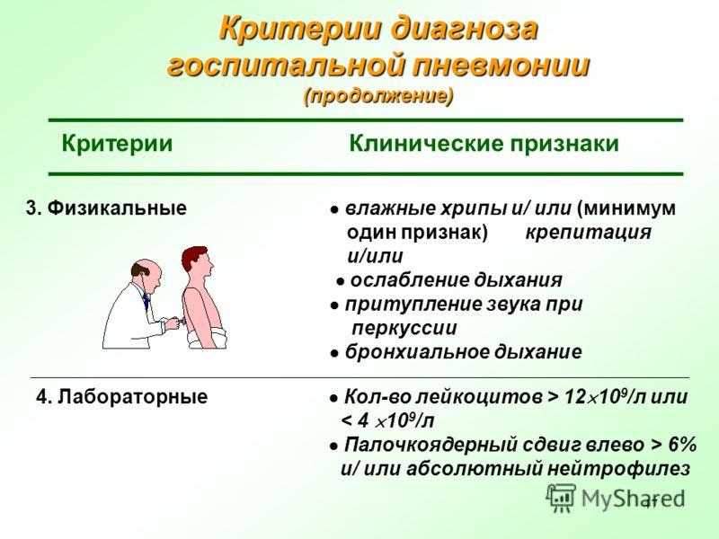 47 Критерии диагноза госпитальной пневмонии (продолжение) КритерииКлинические признаки 4. Лабораторные Кол-во лейкоцитов > 12 10 9 /л или < 4 10 9 /л Палочкоядерный сдвиг влево > 6% и/ или абсолютный нейтрофилез 3. Физикальные влажные хрипы и/ или (м