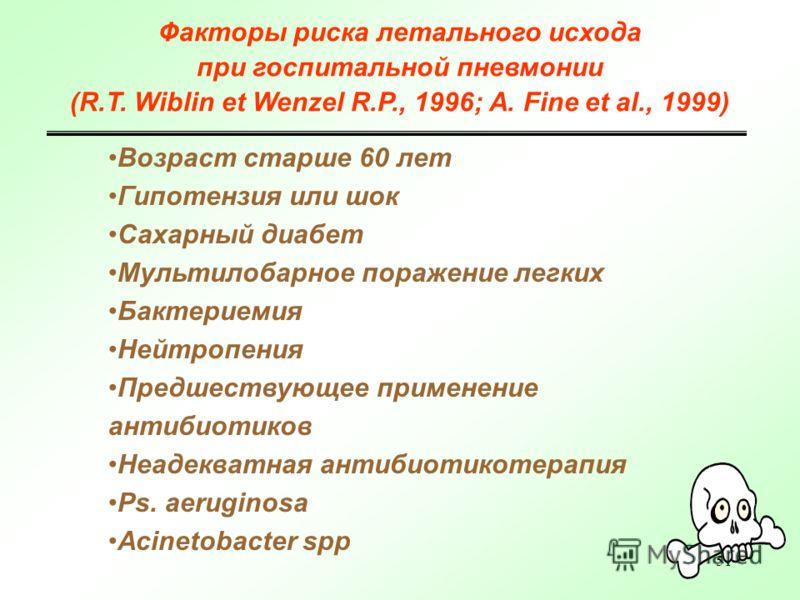 51 Факторы риска летального исхода при госпитальной пневмонии (R.T. Wiblin et Wenzel R.P., 1996; A. Fine et al., 1999) Возраст старше 60 лет Гипотензия или шок Сахарный диабет Мультилобарное поражение легких Бактериемия Нейтропения Предшествующее при