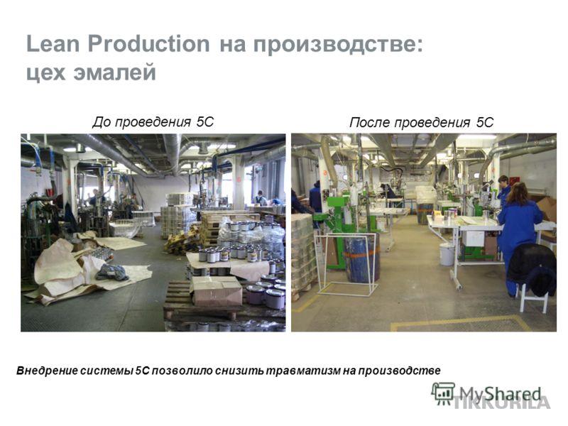 Lean Production на производстве: цех эмалей До проведения 5С После проведения 5С Внедрение системы 5С позволило снизить травматизм на производстве