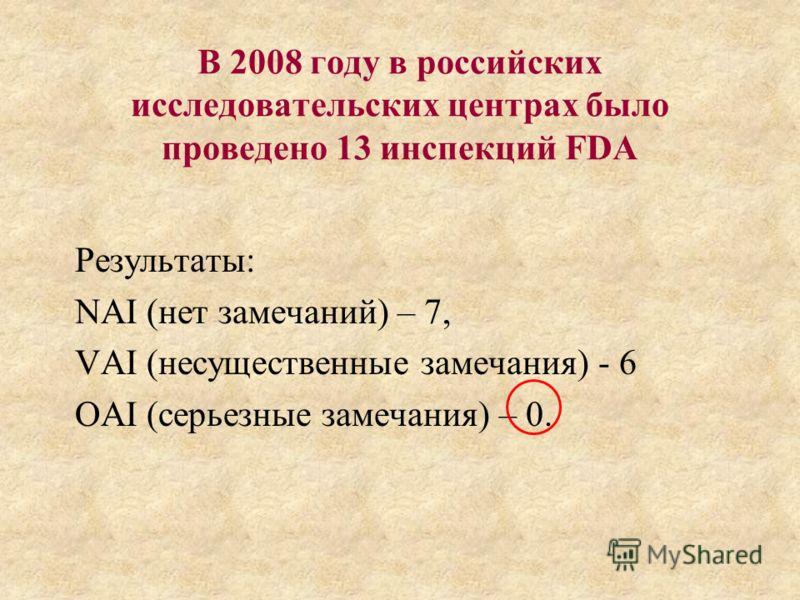 В 2008 году в российских исследовательских центрах было проведено 13 инспекций FDA Результаты: NAI (нет замечаний) – 7, VAI (несущественные замечания) - 6 OAI (серьезные замечания) – 0.