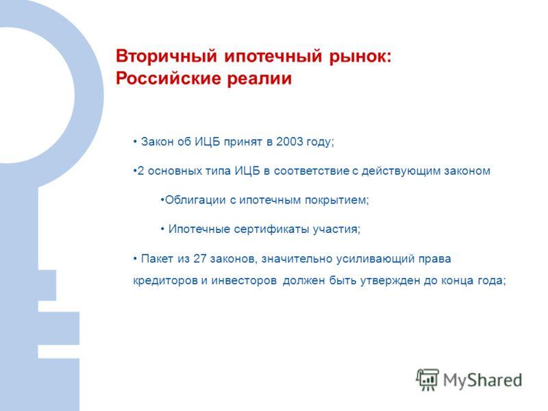 Вторичный ипотечный рынок: Российские реалии Закон об ИЦБ принят в 2003 году; 2 основных типа ИЦБ в соответствие с действующим законом Облигации с ипотечным покрытием; Ипотечные сертификаты участия; Пакет из 27 законов, значительно усиливающий права