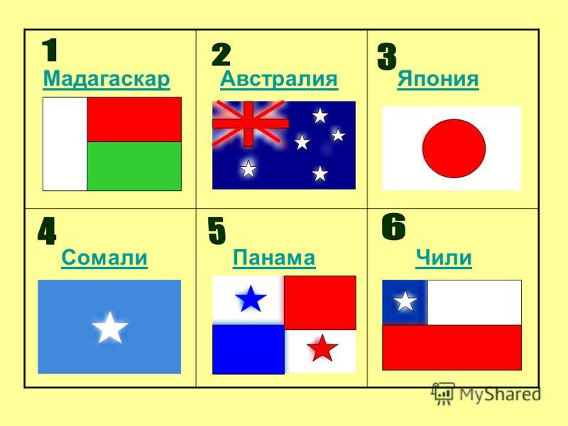 Мадагаскар Австралия Япония Сомали Панама Чили