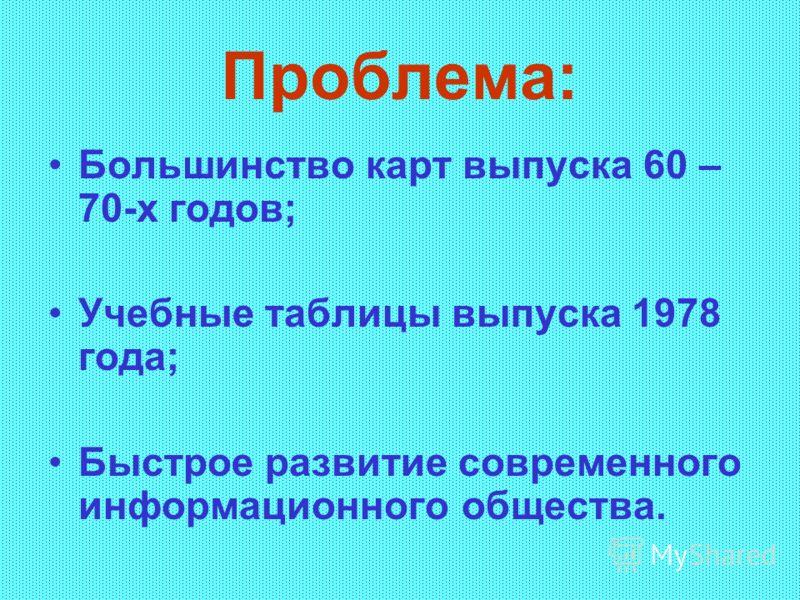 Проблема: Большинство карт выпуска 60 – 70-х годов; Учебные таблицы выпуска 1978 года; Быстрое развитие современного информационного общества.