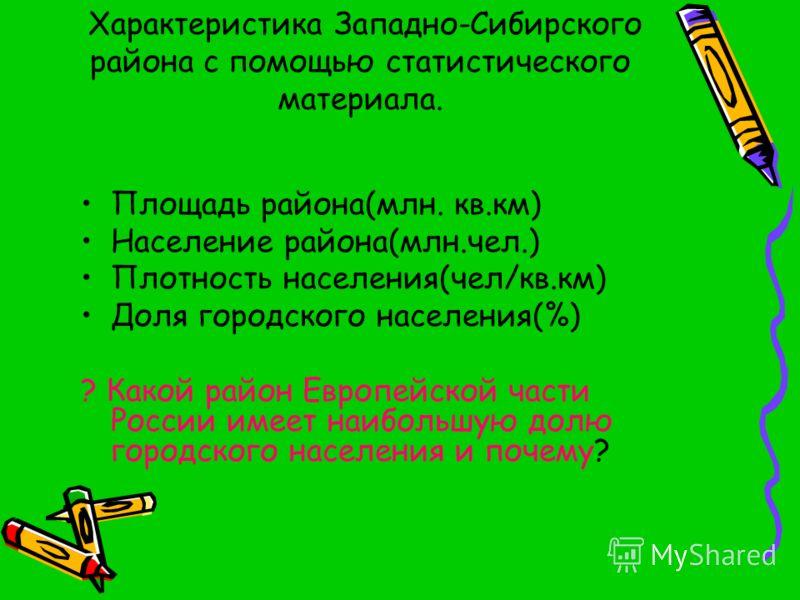 Характеристика Западно-Сибирского района с помощью статистического материала. Площадь района(млн. кв.км) Население района(млн.чел.) Плотность населения(чел/кв.км) Доля городского населения(%) ? Какой район Европейской части России имеет наибольшую до