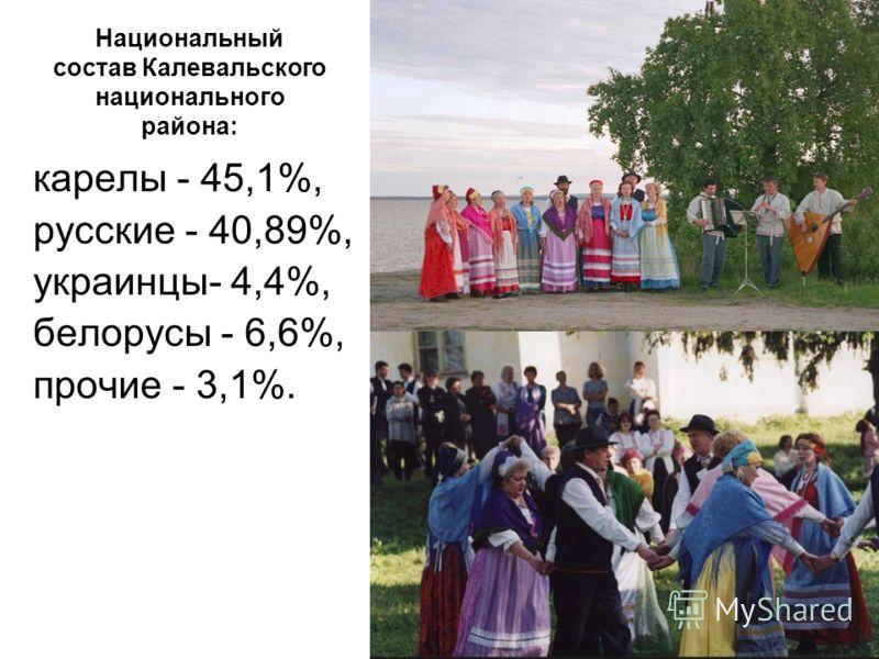 Национальный состав Калевальского национального района: карелы - 45,1%, русские - 40,89%, украинцы- 4,4%, белорусы - 6,6%, прочие - 3,1%.