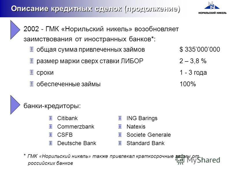 2002 - ГМК «Норильский никель» возобновляет заимствования от иностранных банков*: 3общая сумма привлеченных займов$ 335000000 3размер маржи сверх ставки ЛИБОР2 – 3,8 % 3сроки1 - 3 года 3обеспеченные займы100% Описание кредитных сделок (продолжение) 3