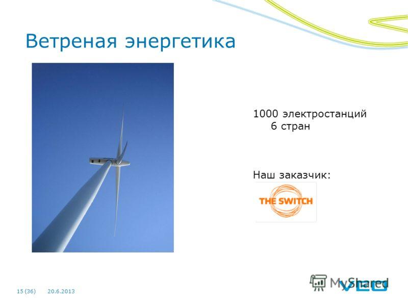 20.6.201315 (36) Ветреная энергетика 1000 электростанций 6 стран Наш заказчик: