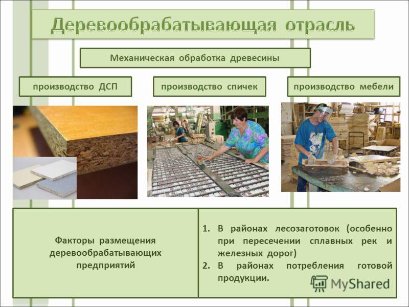 производство ДСП Механическая обработка древесины производство спичекпроизводство мебели Факторы размещения деревообрабатывающих предприятий 1.В районах лесозаготовок (особенно при пересечении сплавных рек и железных дорог) 2.В районах потребления го