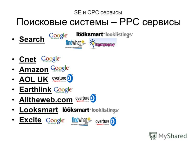 SE и CPC сервисы Поисковые системы – PPC сервисы Search Cnet Amazon AOL UK Earthlink Alltheweb.com Looksmart Excite