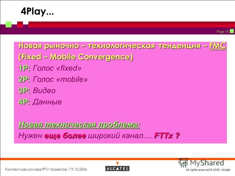 All rights reserved © 2005, Alcatel Контент как основа IPTV проектов /19.10.2006 Page 10 4Play... Новая рыночно – технологическая тенденция – FMC Новая рыночно – технологическая тенденция – FMC (Fixed – Mobile Сonvergence) (Fixed – Mobile Сonvergence