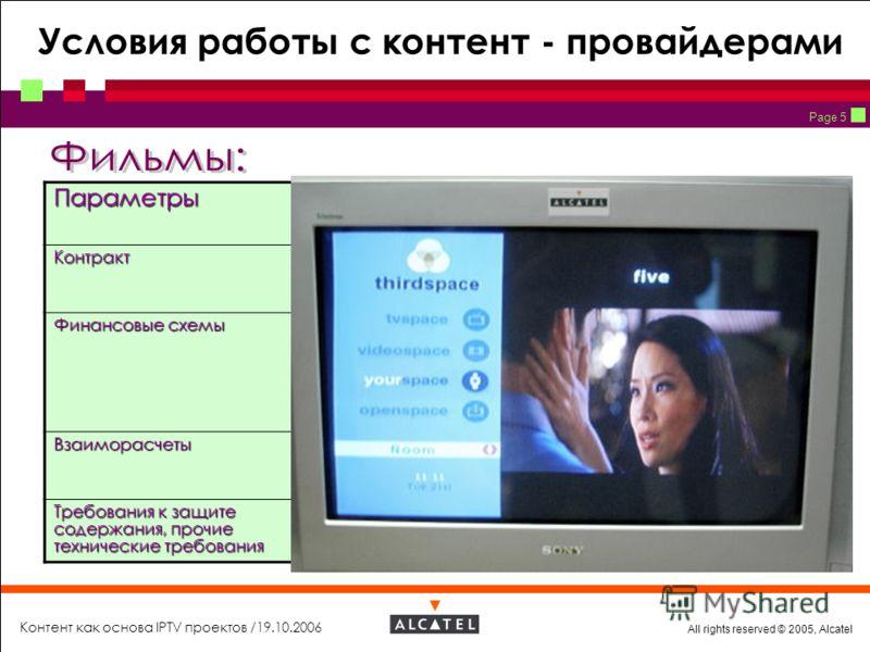 All rights reserved © 2005, Alcatel Контент как основа IPTV проектов /19.10.2006 Page 5 Условия работы с контент - провайдерамиПараметры Независимые студии «Мэйджеры»КонтрактВозможно прямой Возможно через контент - агрегатора Только прямой (может быт