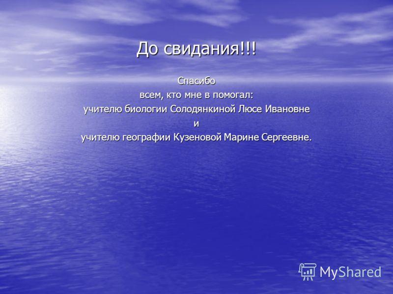 До свидания!!! Спасибо всем, кто мне в помогал: учителю биологии Солодянкиной Люсе Ивановне и учителю географии Кузеновой Марине Сергеевне.