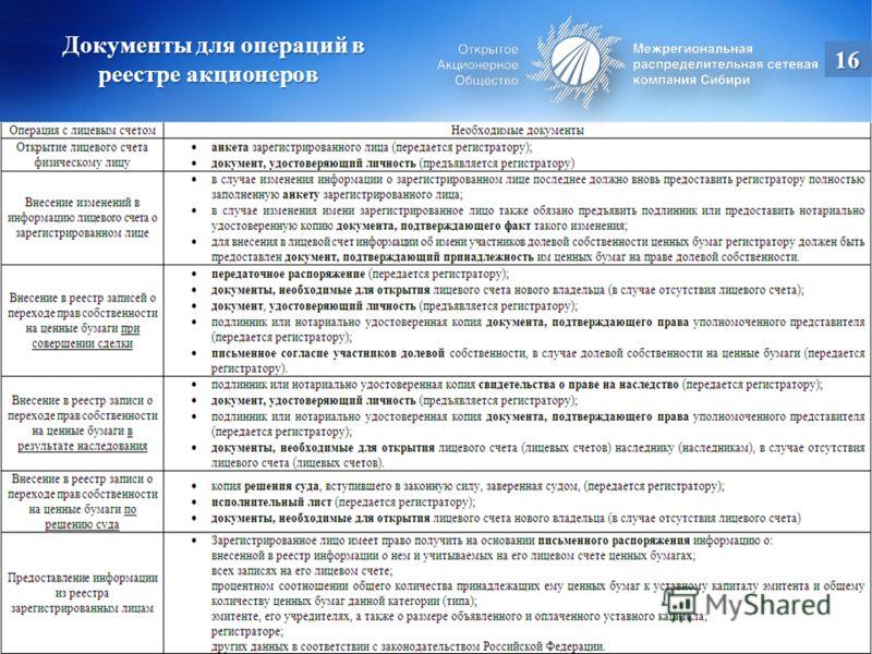 Документы для операций в реестре акционеров Документы для операций в реестре акционеров 16