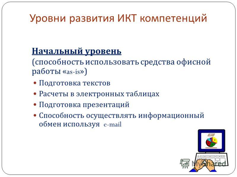 Уровни развития ИКТ компетенций Начальный уровень ( способность использовать средства офисной работы «as-is») Подготовка текстов Расчеты в электронных таблицах Подготовка презентаций Способность осуществлять информационный обмен используя e-mail