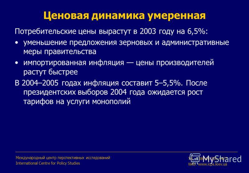 Потребительские цены вырастут в 2003 году на 6,5%: уменьшение предложения зерновых и административные меры правительства импортированная инфляция цены производителей растут быстрее В 2004–2005 годах инфляция составит 5–5,5%. После президентских выбор