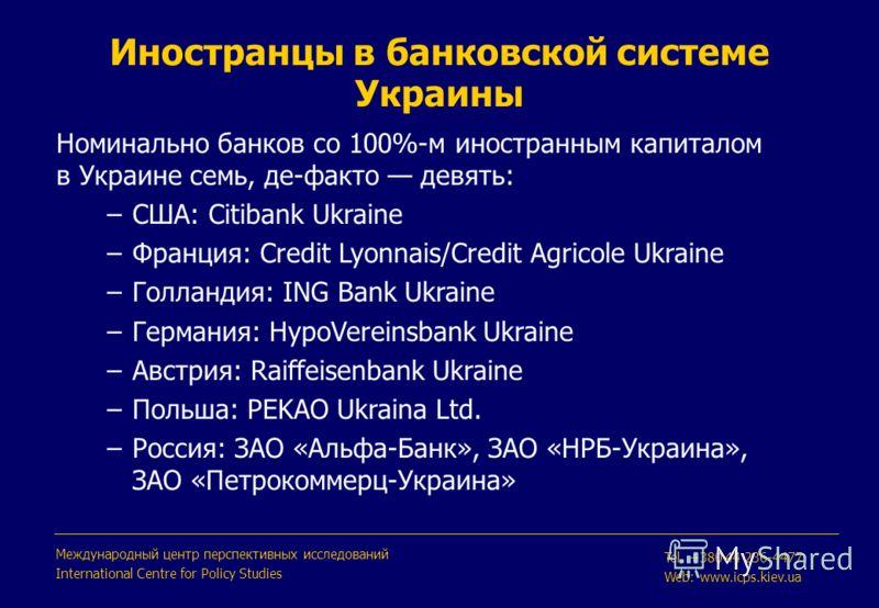 Иностранцы в банковской системе Украины Номинально банков со 100%-м иностранным капиталом в Украине семь, де-факто девять: –США: Citibank Ukraine –Франция: Credit Lyonnais/Credit Agricole Ukraine –Голландия: ING Bank Ukraine –Германия: HypoVereinsban