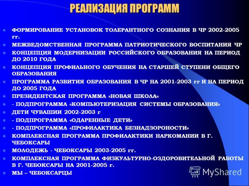 РЕАЛИЗАЦИЯ ПРОГРАММ ФОРМИРОВАНИЕ УСТАНОВОК ТОЛЕРАНТНОГО СОЗНАНИЯ В ЧР 2002-2005 гг. МЕЖВЕДОМСТВЕННАЯ ПРОГРАММА ПАТРИОТИЧЕСКОГО ВОСПИТАНИЯ ЧР КОНЦЕПЦИЯ МОДЕРНИЗАЦИИ РОССИЙСКОГО ОБРАЗОВАНИЯ НА ПЕРИОД ДО 2010 ГОДА КОНЦЕПЦИЯ ПРОФИЛЬНОГО ОБУЧЕНИЯ НА СТАРШ