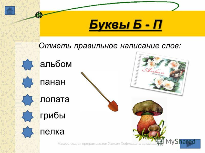 Макрос создан программистом Хансом Хофманом (Германия) Буквы Б - П Отметь правильное написание слов: альбом панан лопата грибы пелка