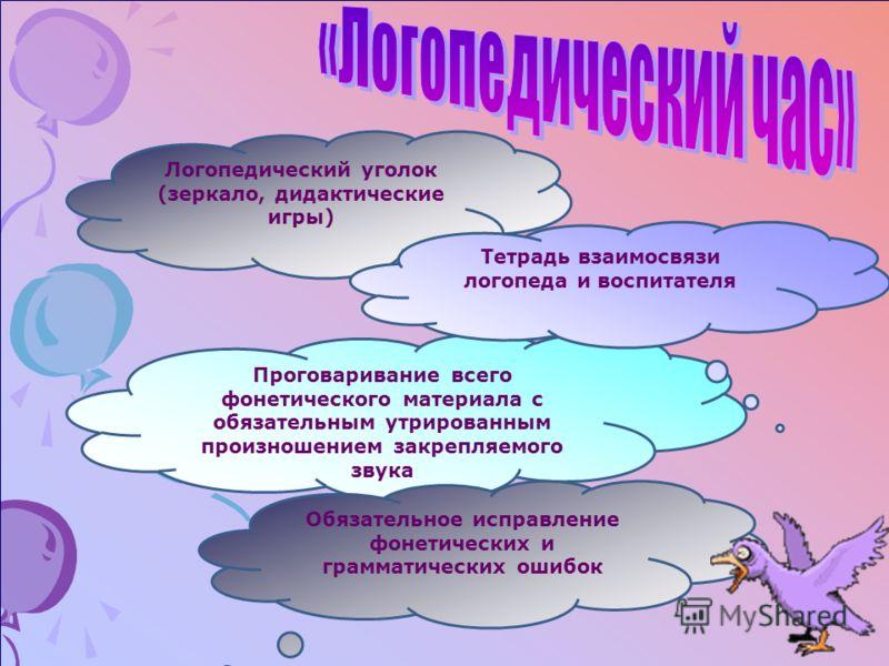 Логопедический уголок (зеркало, дидактические игры) Проговаривание всего фонетического материала с обязательным утрированным произношением закрепляемого звука Тетрадь взаимосвязи логопеда и воспитателя Обязательное исправление фонетических и граммати