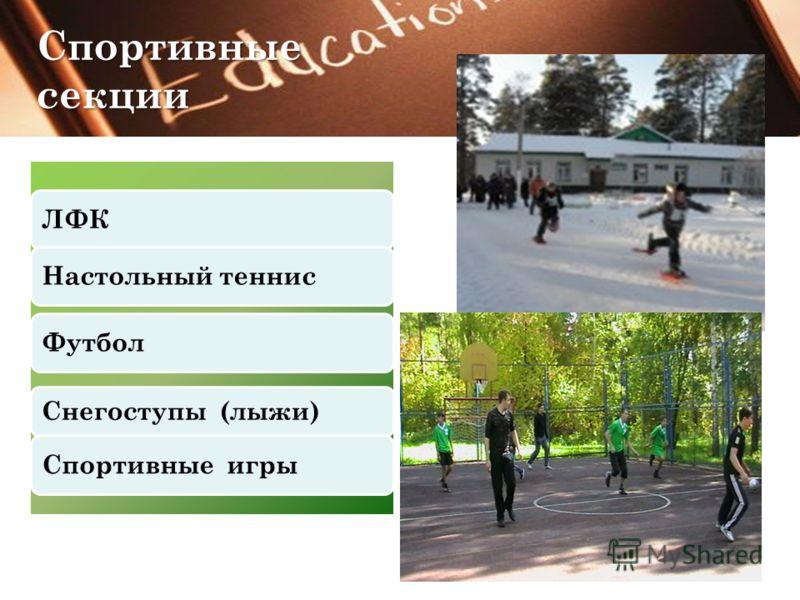 ЛФКНастольный теннисФутбол Снегоступы (лыжи) Спортивные игры Спортивные секции