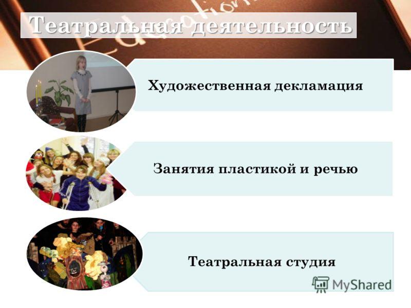Театральная деятельность Художественная декламация Театральная студия Занятия пластикой и речью