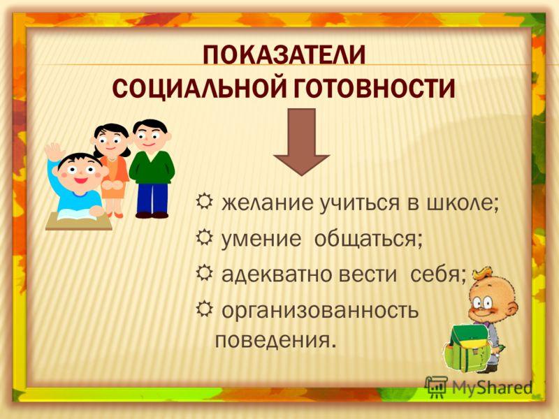 ПОКАЗАТЕЛИ СОЦИАЛЬНОЙ ГОТОВНОСТИ желание учиться в школе; умение общаться; адекватно вести себя; организованность поведения.