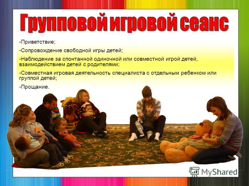 -Приветствие; -Сопровождение свободной игры детей; -Наблюдение за спонтанной одиночной или совместной игрой детей, взаимодействием детей с родителями; -Совместная игровая деятельность специалиста с отдельным ребенком или группой детей; -Прощание.