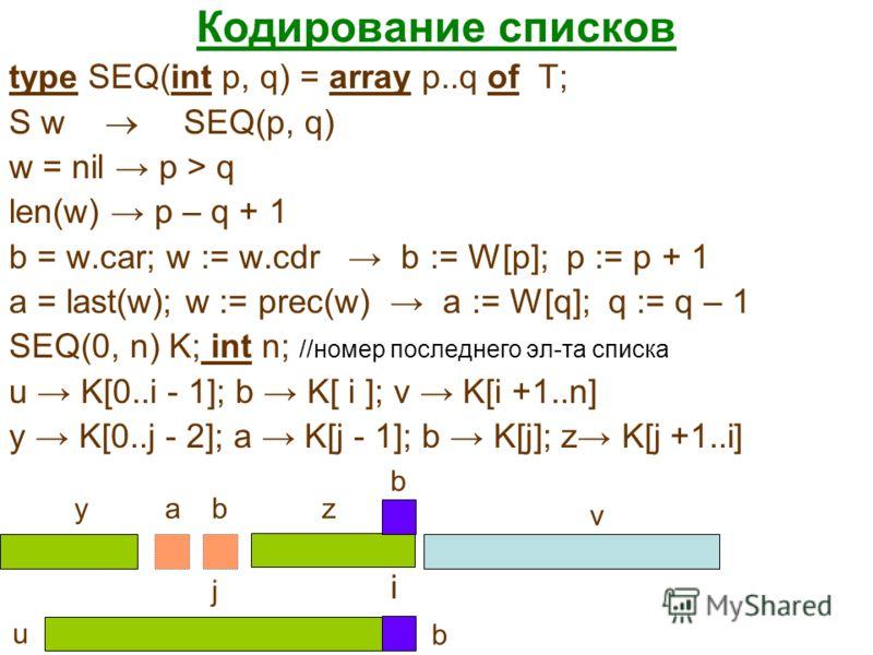 Кодирование списков type SEQ(int p, q) = array p..q of T; S w SEQ(p, q) w = nil p > q len(w) p – q + 1 b = w.car; w := w.cdr b := W[p]; p := p + 1 a = last(w); w := prec(w) a := W[q]; q := q – 1 SEQ(0, n) K; int n; //номер последнего эл-та списка u K