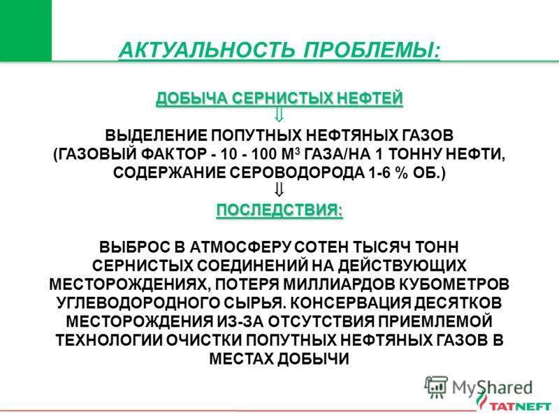 АКТУАЛЬНОСТЬ ПРОБЛЕМЫ: ДОБЫЧА СЕРНИСТЫХ НЕФТЕЙ ВЫДЕЛЕНИЕ ПОПУТНЫХ НЕФТЯНЫХ ГАЗОВ (ГАЗОВЫЙ ФАКТОР - 10 - 100 М 3 ГАЗА/НА 1 ТОННУ НЕФТИ, СОДЕРЖАНИЕ СЕРОВОДОРОДА 1-6 % ОБ.) ПОСЛЕДСТВИЯ: ВЫБРОС В АТМОСФЕРУ СОТЕН ТЫСЯЧ ТОНН СЕРНИСТЫХ СОЕДИНЕНИЙ НА ДЕЙСТВУ