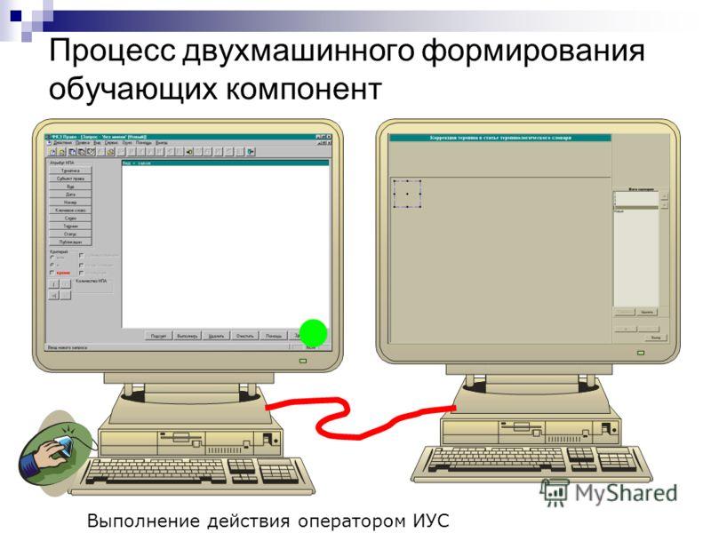 Процесс двухмашинного формирования обучающих компонент Выполнение действия оператором ИУС