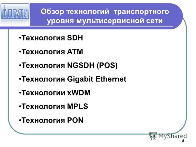8 Обзор технологий транспортного уровня мультисервисной сети Технология SDH Технология АТМ Технология NGSDH (POS) Технология Gigabit Ethernet Технологии хWDM Технология MPLS Технология PON