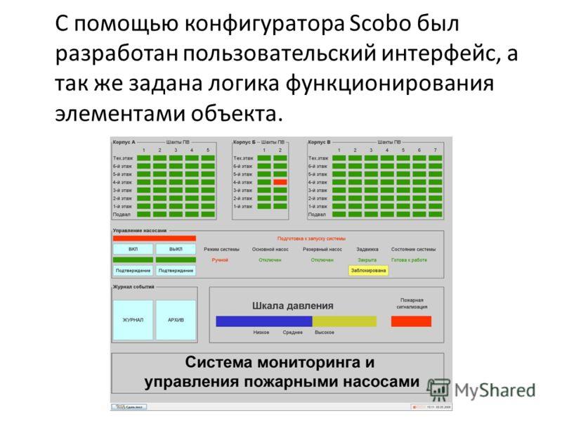 С помощью конфигуратора Scobo был разработан пользовательский интерфейс, а так же задана логика функционирования элементами объекта.