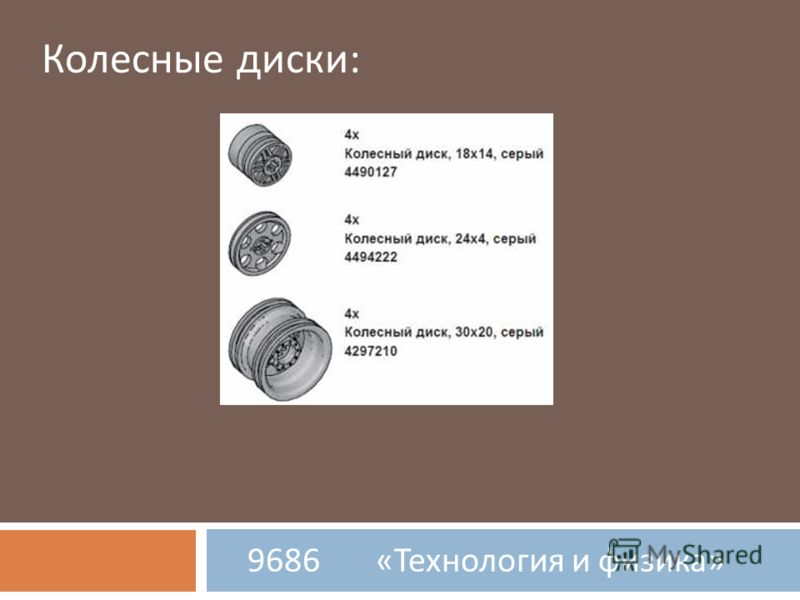 9686 « Технология и физика » Колесные диски: