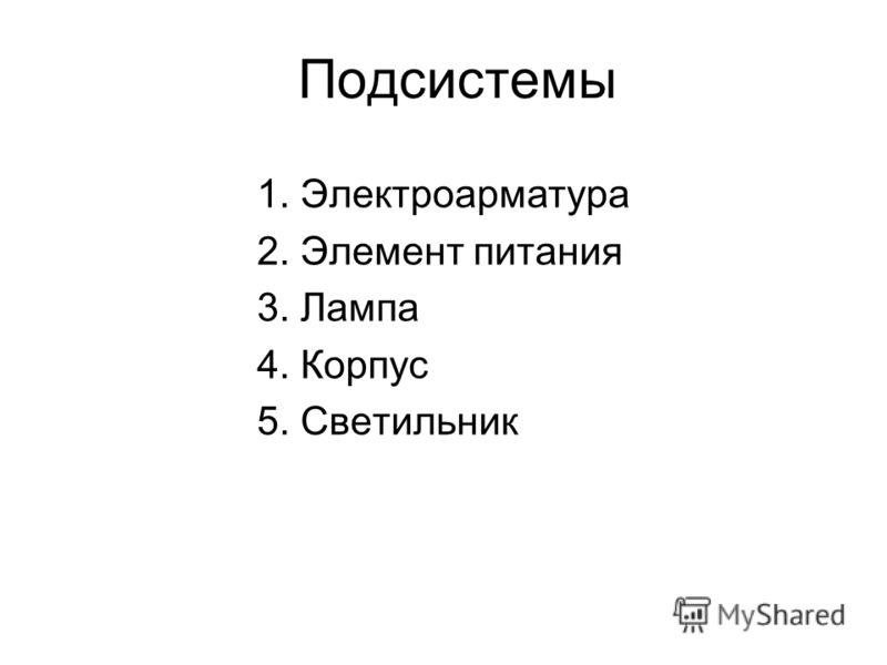 Подсистемы 1. Электроарматура 2. Элемент питания 3. Лампа 4. Корпус 5. Светильник