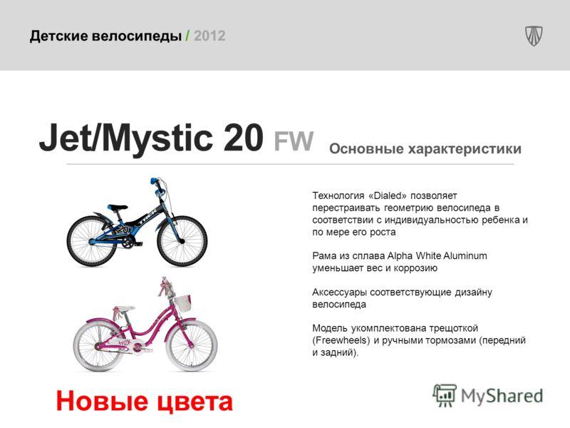 Детские велосипеды / 2012 Технология «Dialed» позволяет перестраивать геометрию велосипеда в соответствии с индивидуальностью ребенка и по мере его роста Рама из сплава Alpha White Aluminum уменьшает вес и коррозию Аксессуары соответствующие дизайну