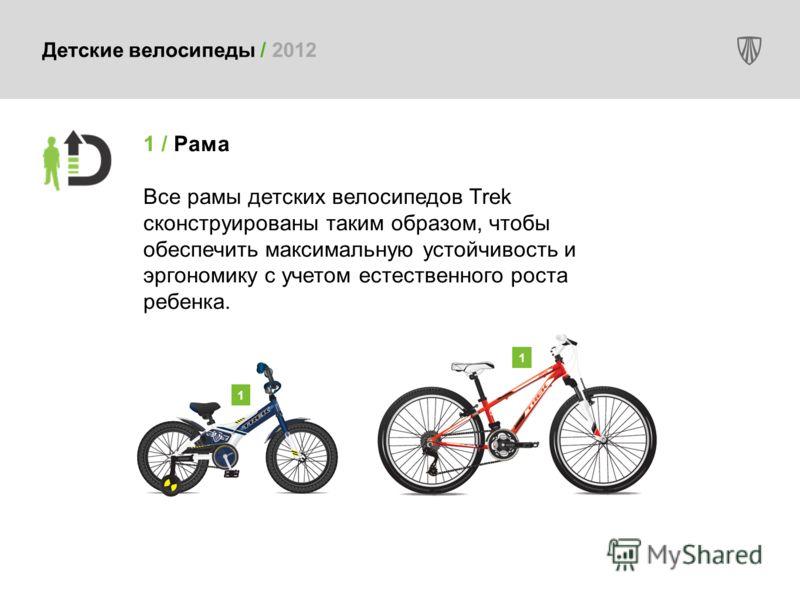 1 / Рама Все рамы детских велосипедов Trek сконструированы таким образом, чтобы обеспечить максимальную устойчивость и эргономику с учетом естественного роста ребенка. 1 1