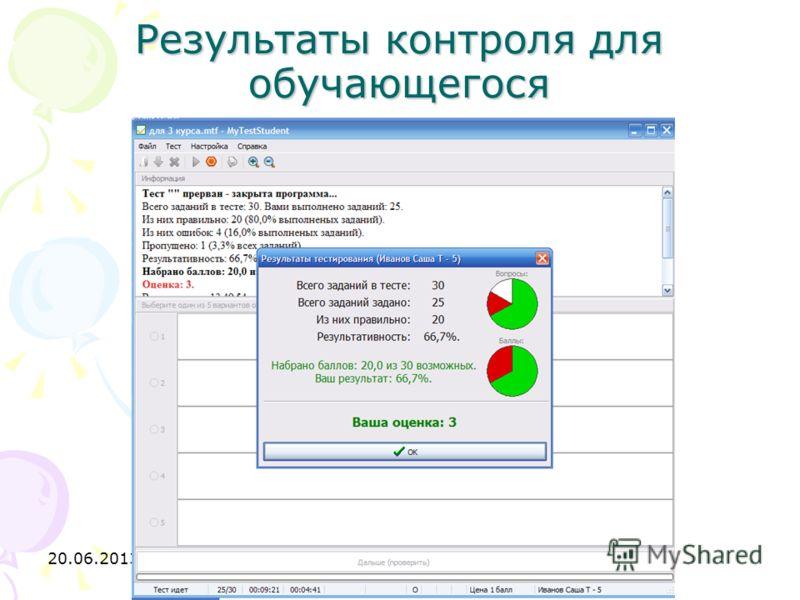 Результаты контроля для обучающегося 20.06.2013